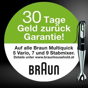 30 Tage Geld zurück Garantie - Braun Multiquick 5 Vario, 7 und Multiquick 9 Stabmixer