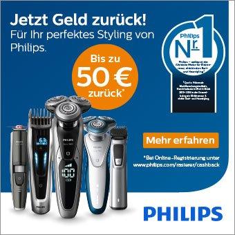 Kaufen Sie jetzt einen der teilnehmenden Philips Rasierer und erhalten Sie bis zu 50 € zurückerstattet!