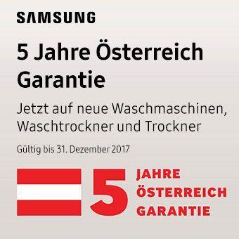 5 Jahre Österreich Garantie - Jetzt auf neue Waschmaschinen, Waschtrockner und Trockner bei ausgewählten stationären Fachhändlern