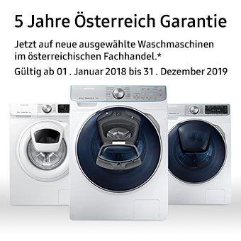 5 Jahre Österreich Garantie - Jetzt auf neue ausgewählte Waschmaschinen bei ausgewählten stationären Fachhändlern