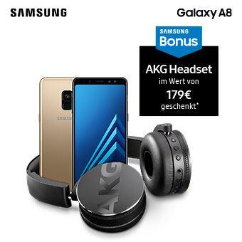 Jetzt Samsung Galaxy A8 (2018) vorbestellen und AKG Y50BT Kopfhörer im Wert von 179 € geschenkt bekommen.*