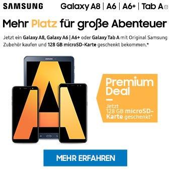 Jetzt ein Galaxy A8, Galaxy A6 | A6+ oder Galaxy Tab A mit Original Samsung Zubehör kaufen und 128 GB microSD-Karte geschenkt bekommen.