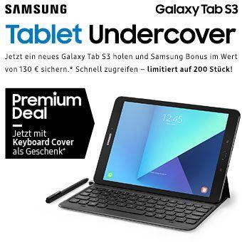 Jetzt ein neues Galaxy Tab S3 holen und Samsung Bonus im Wert von 130 € sichern.*