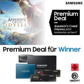 Jetzt Samsung SSD ab 500 GB im teilnehmenden Onlinehandel kaufen und Assassin's Creed Odyssey digital für PC im Wert von 59,99€ geschenkt* bekommen.