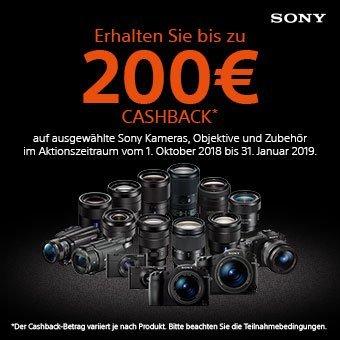 Erhalten Sie bis zu 200 € Cashback auf ausgewählte Sony Kameras, Objektive und Zubehör