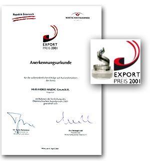 Ausgezeichnet mit dem Exportpreis 2001